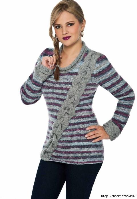 Вязание спицами. Пуловеры с косами (1) (480x700, 170Kb)