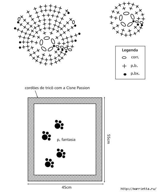 Коврик для кота с аппликацией крючком (2) (532x648, 119Kb)