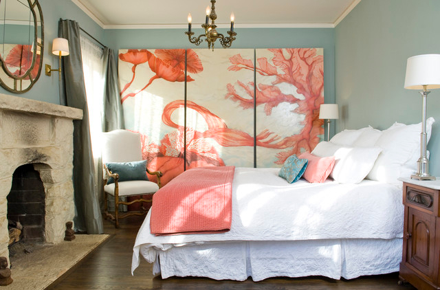 Tiffany blue and coral bedroom