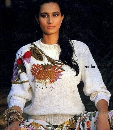 Жаккардовый-свитер-спицами-с-цветами-и-бабочкой (479x550, 231Kb)
