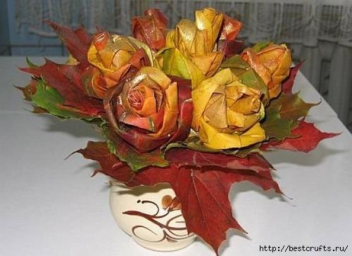 Розы из осенних листьев своими руками (4) (500x364, 116Kb)