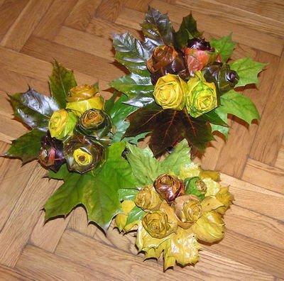 Розы из осенних листьев своими руками (28) (400x396, 172Kb)