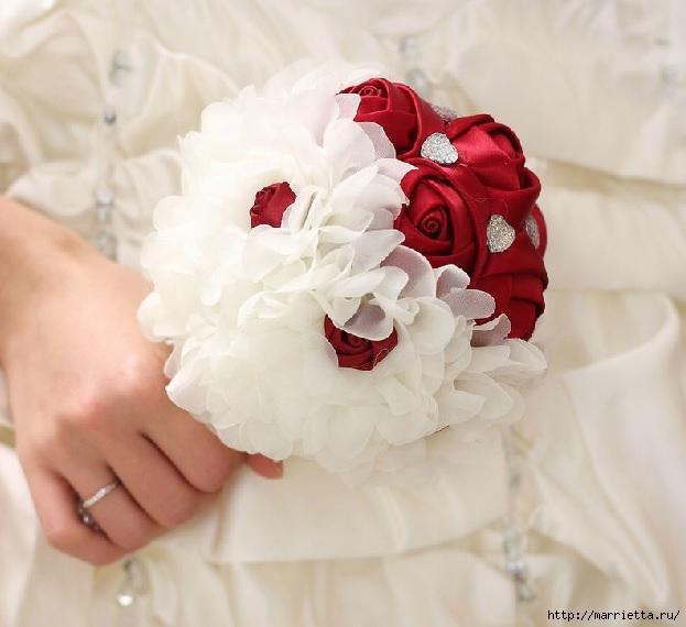 Свадебные букеты из атласных розочек (24) (623x570, 150Kb)