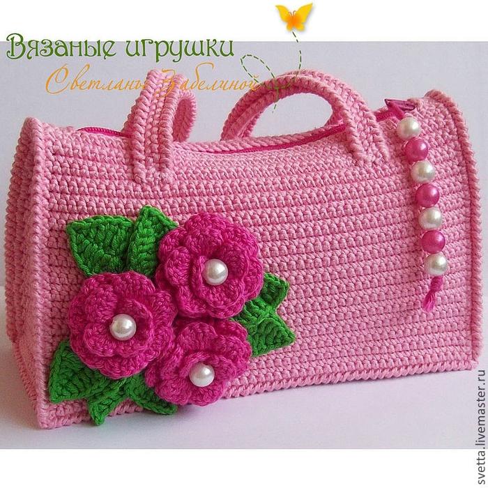 Вязаная спицами сумочка для девочки своими руками 58