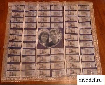 Скатерть из денег своими руками на свадьбу