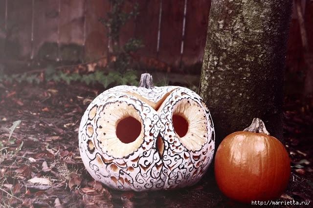 СОВА из тыквы. Идеи декора к Хэллоуину (1) (640x425, 212Kb)