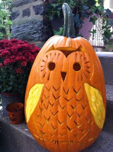 СОВА из тыквы. Идеи декора к Хэллоуину (2) (373x500, 180Kb)