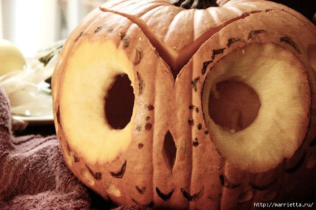 СОВА из тыквы. Идеи декора к Хэллоуину (10) (640x425, 202Kb)