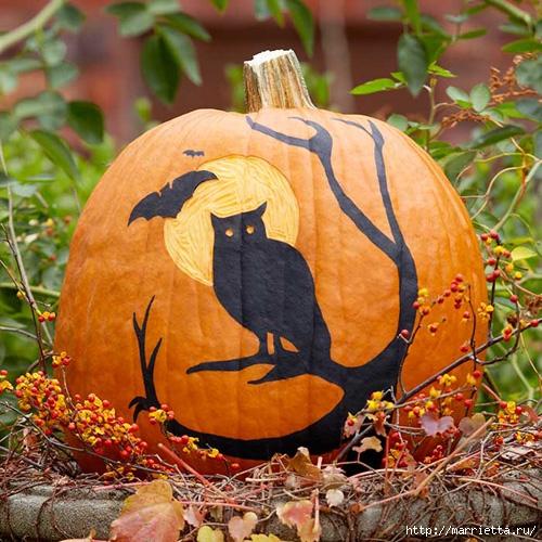 СОВА из тыквы. Идеи декора к Хэллоуину (26) (500x500, 241Kb)