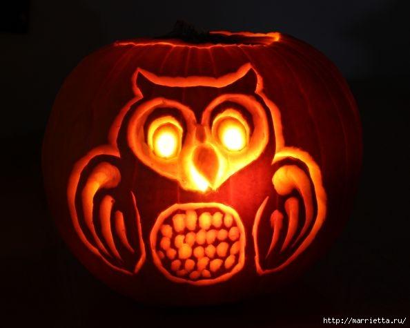 СОВА из тыквы. Идеи декора к Хэллоуину (29) (594x475, 98Kb)