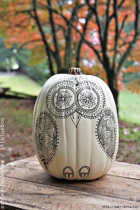 СОВА из тыквы. Идеи декора к Хэллоуину (36) (466x700, 283Kb)