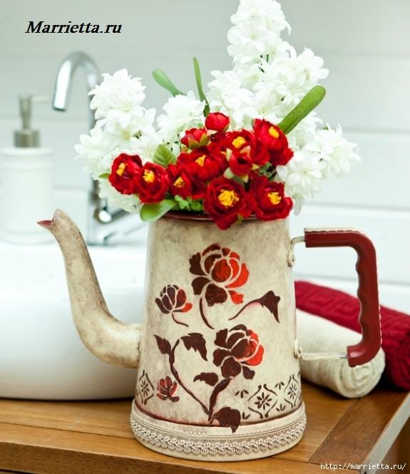 Ваза из чайника. Красивая идея декорирования старой посуды (1) (575x665, 205Kb)