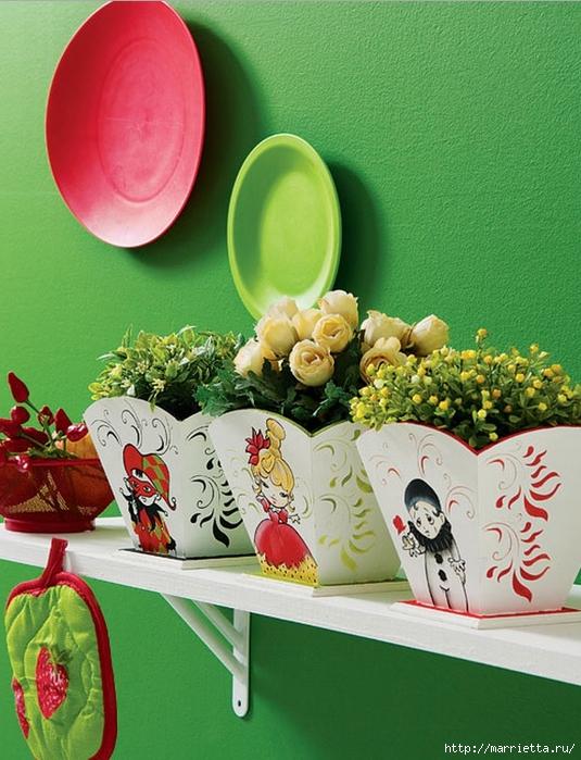 Арлекино, Пьеро и Коломбина. Идея росписи цветочных кашпо (1) (535x700, 308Kb)
