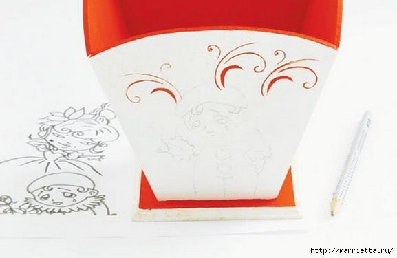 Арлекино, Пьеро и Коломбина. Идея росписи цветочных кашпо (5) (577x375, 79Kb)