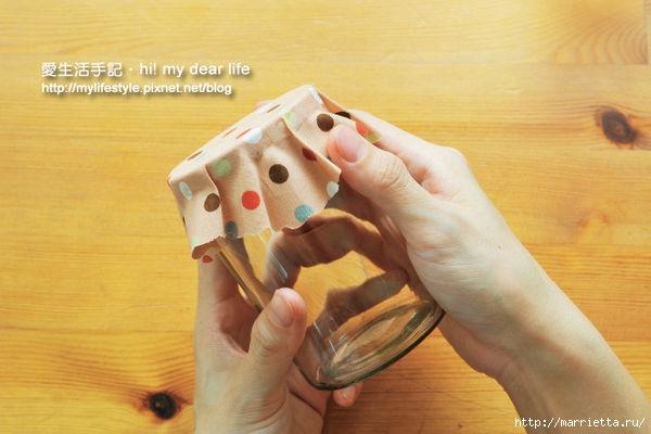 Decorar tapas para frascos con un paño (26) (600x400, 124Kb)