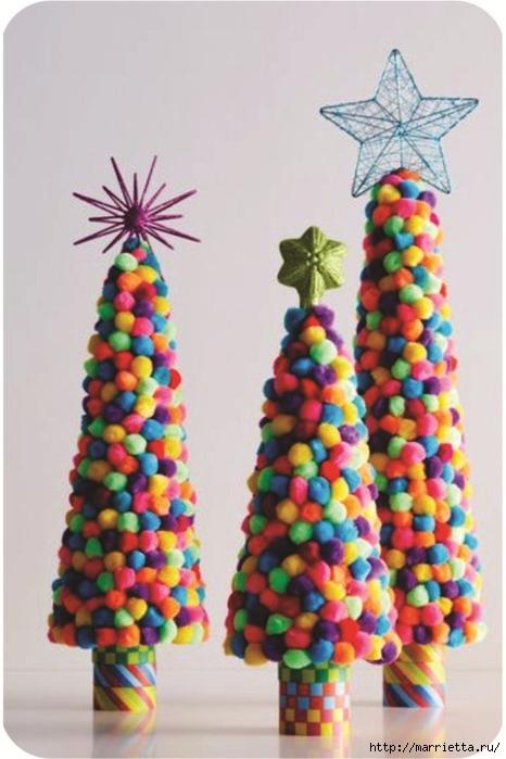Árboles de navidad y muñecos de nieve de pompones (9) (466x700, 198KB)