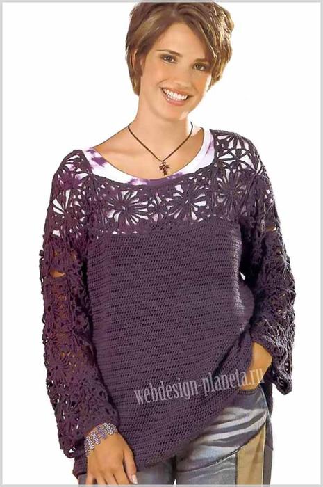 zhenskij-pulover-kryuchkom-s-koketkoj-iz-tsvetov-foto (465x700, 220Kb)