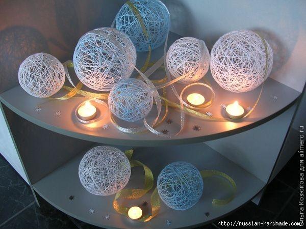 Нежные цветы, снеговик и декоративные шары из ниток. Мастер-классы (25) (600x450, 153Kb)