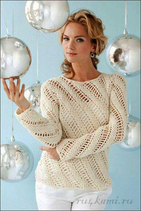 Часть 2 - Ажурный пуловер для