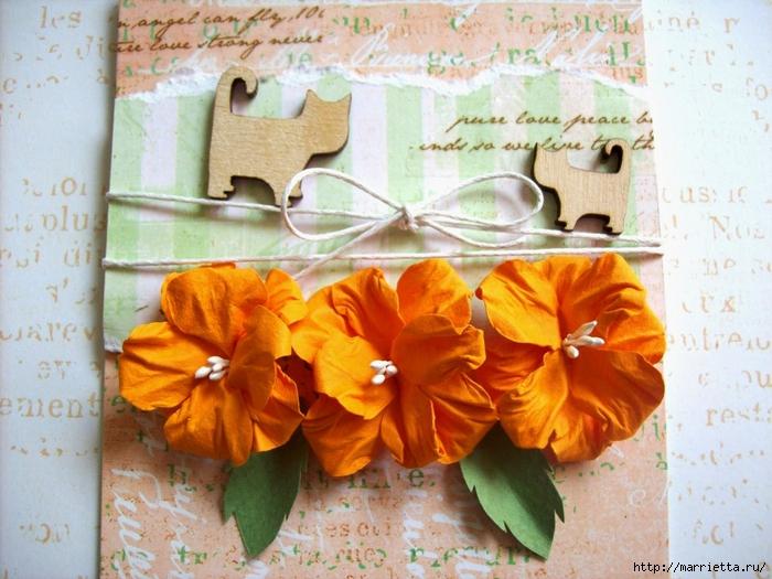 Бумагопластика. Цветы из бумаги для открыток ручной работы (2) (700x525, 312Kb)