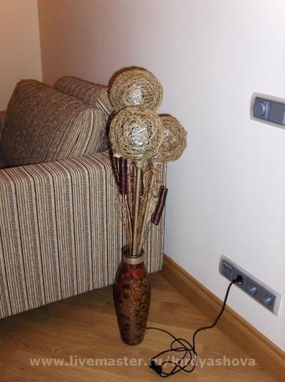 Напольный светильник своими руками - из вазы и шпагата (2) (400x536, 160Kb)