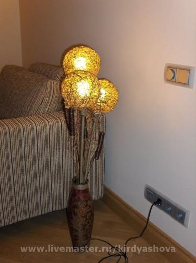 Напольный светильник своими руками - из вазы и шпагата (8) (400x536, 144Kb)