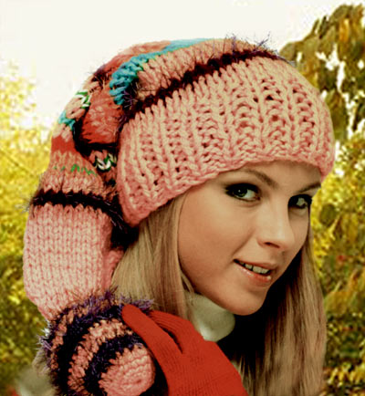 Вязание спицами шапки для