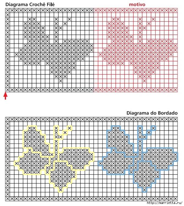 Схема вышивки бабочек на
