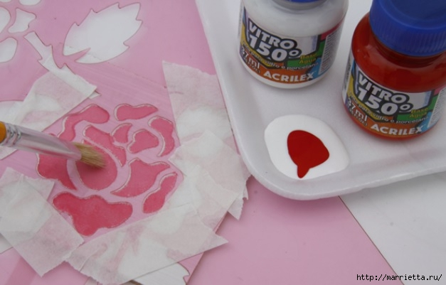 Rosas románticas espejo.  La idea de la pintura (4) (627x401, 110KB)