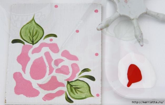 Rosas románticas espejo.  La idea de la pintura (8) (627x401, 99Kb)