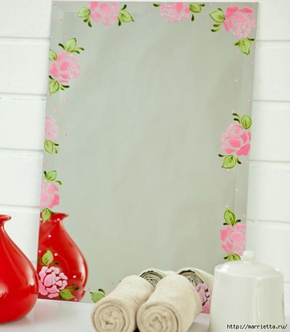 Rosas románticas espejo.  La idea de la pintura (10) (579x663, 126Kb)
