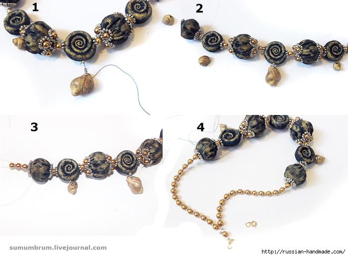 Джинсовое ожерелье из ракушек, бисера и бусин (2) (700x516, 184Kb)