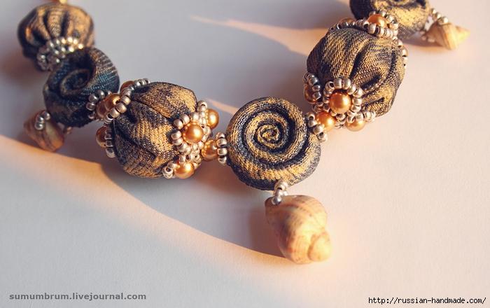 Джинсовое ожерелье из ракушек, бисера и бусин (15) (700x440, 222Kb)