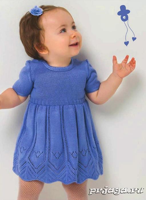 Платье вязаное спицами на девочку 1 годик