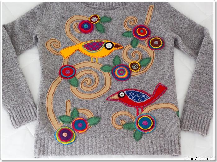 аппликация на свитере (птички) 02 рамка (700x523, 368Kb)