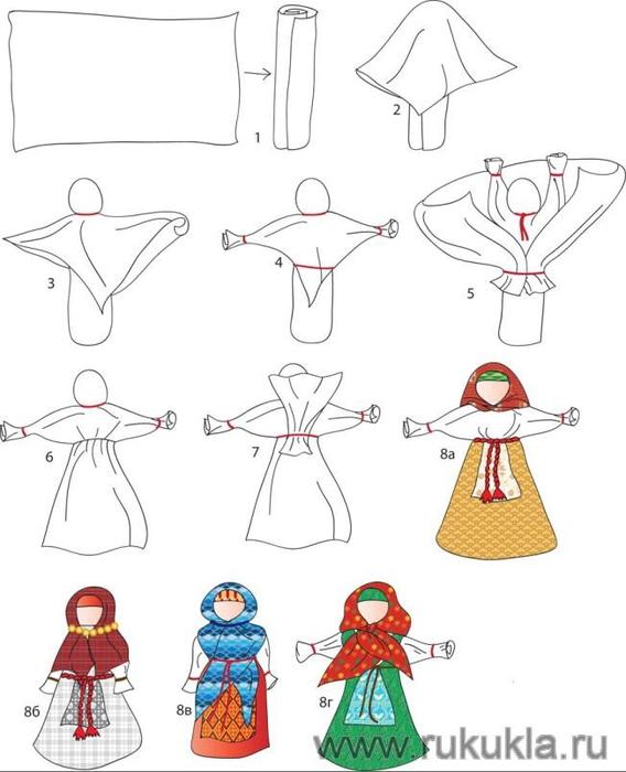 Народные куколки из ткани своими руками без шитья 76
