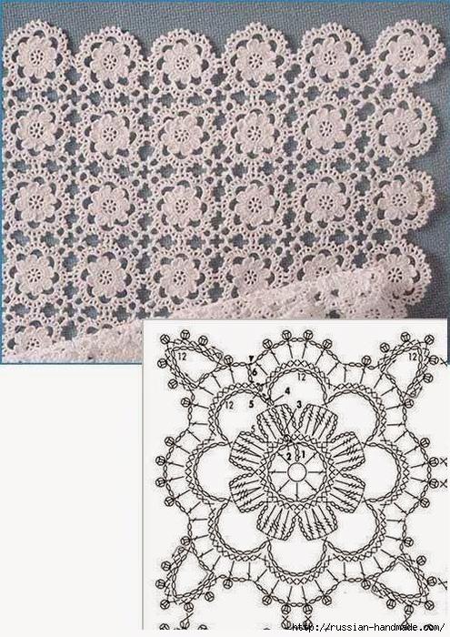 Схема мотива для вязания скатерти (495x700, 333Kb)