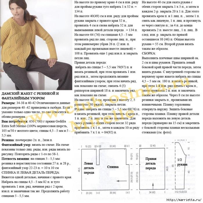 Схема вязания спицами модной кофточки