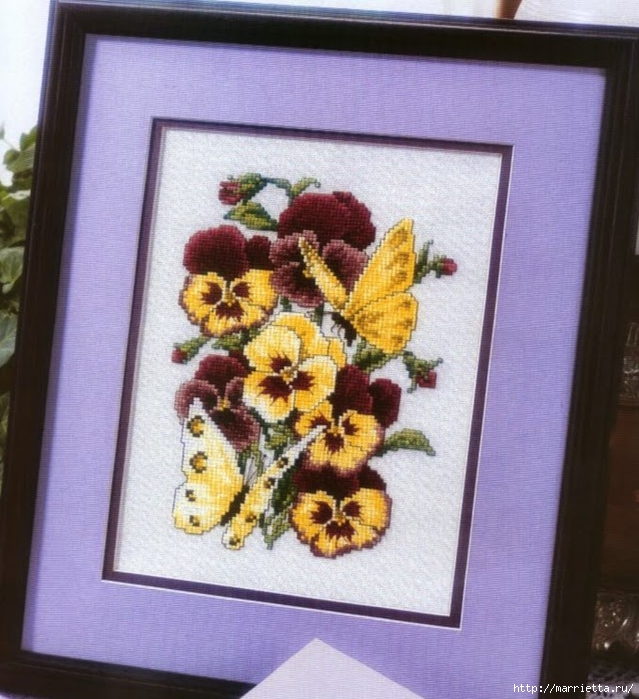 Схема вышивки панно. АНЮТИНЫ ГЛАЗКИ и бабочки (1) (639x700, 310Kb)