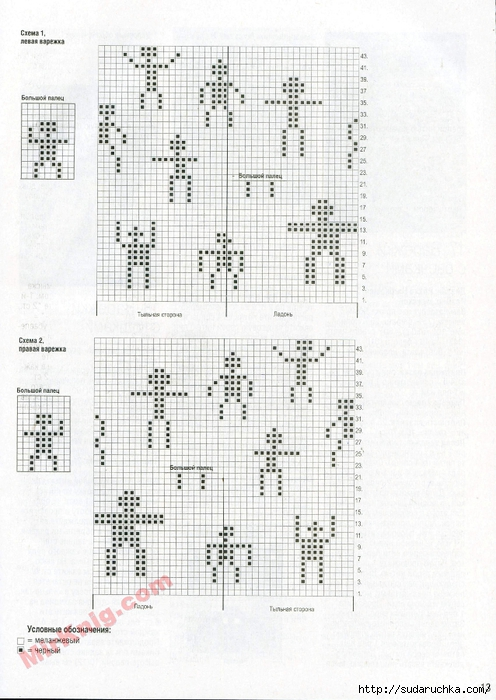 Оригинальные варежки схемы вязания