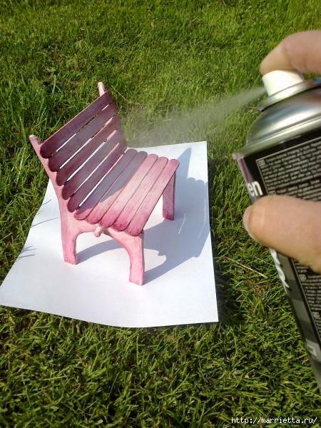 Для кукол. Садовая скамейка из палочек от мороженого (27) (450x600, 219Kb)