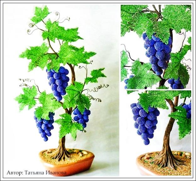 Виноградная лоза из бисера - простой МК