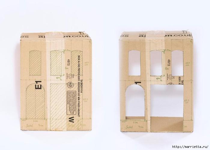 Домик в Викторианском стиле. Из картонной коробки (3) (700x499, 146Kb)