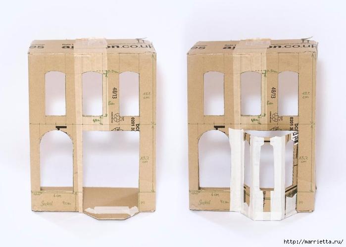 Домик в Викторианском стиле. Из картонной коробки (5) (700x499, 151Kb)