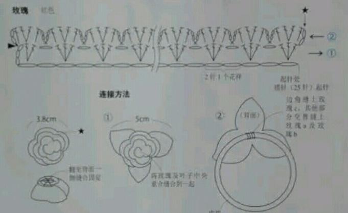 РОЗА крючком - декор резинки для волос (2) (681x417, 175Kb)