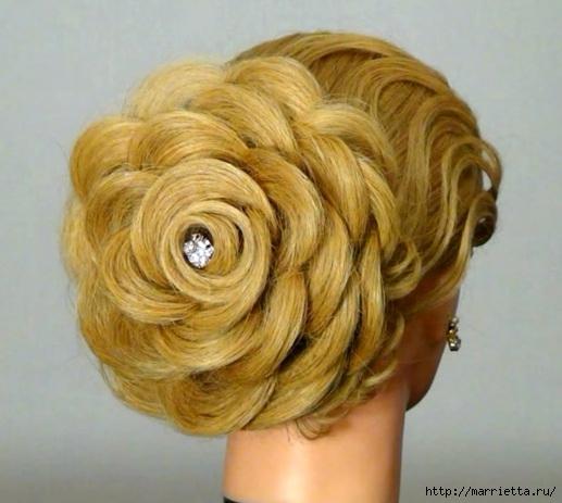 Роза из волос. Вечерняя прическа (2) (517x463, 132Kb)