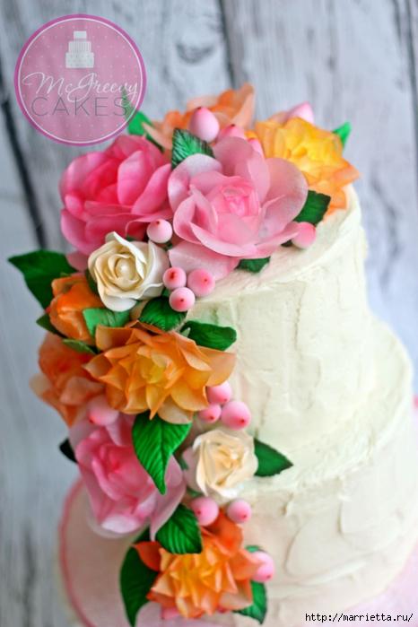 Цветы для торта. Из съедобной вафельной бумаги (3) (466x700, 210Kb)