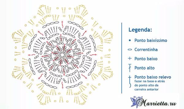 Шторка крючком цветочными мотивами. Схема (3) (600x357, 201Kb)