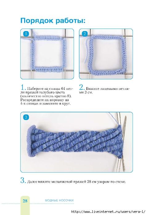 Курс вязания спицами. Общие правила вязания носков 33