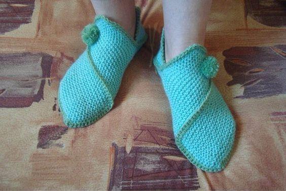 Домашняя обувь-уроки и схемы для вязания крючком